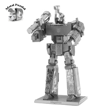 3D Metal Puzzles Miniature Model DIY Jigsaws Science Fiction Cartoon Model Silver  Gift for Children MEGATRON