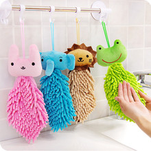 SJ01 cute cartoon animals hanging towel handkerchief Soft Plush Hand Towel(China)