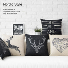 Scandinavian throw pillow case Nordic Style decorative cushion covers Black white Deer pillow geometric cushion covers for sofa(China)