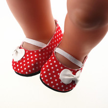 Super cute Red shoes Fit 18 Inch American Girl Doll 43cm Baby Born Zapf Doll  Accessories Handmade Fashion shoes