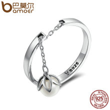 BAMOER Genuine 925 Sterling Silver Tears Of Flowers Dangle Open Finger Rings for Women Luxury Sterling Silver Jewelry SCR165(China)