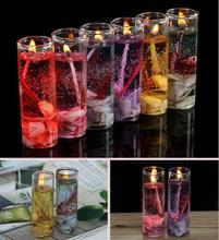 New Glass Bottles Ocean Gel Wax Candles Wedding Banquet Candle Celebration Pink Blue Candle Decorate Birthday Candles 6 colors(China)