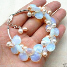 Fashion Handmade Fire Opal Opalite Natural Pink Pearl Bangle Bracelet @^Noble style Natural Fine jewe SHIPPING new >>free shippi