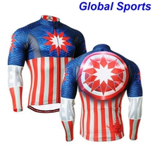 2017 Brand zipper Up spring Men's Cycling Long Sleeve Jerseys Jackets Bike Ride Riding Bicycle Windproof flag printed clothes