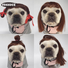 VUGSUCE Funny Pet Dog Wig Cosplay Cap for Small Puppy Dogs Cats Cute Lovely Girl Hair Loop Head Wear Dog Pet Hat Hair Costume