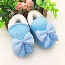 Cute Newborn Infant Girls Winter Warm New Bow Snow Shoes Baby Soft Bottom Walker Crib Boots Newborns Toddler Booties