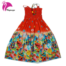 Summer 2017 Baby Girls Beach Dress New Fashion Bohemian Style Beading Necklace Sleeveless Flower Beach Dress For Girls Clothes
