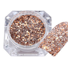 2g Rose Gold Nail Art Glitter Powder Dust Dust Acrylic UV Gel Manicure Decor Mixed Pigment Glitter Powder Nail Art Decoration
