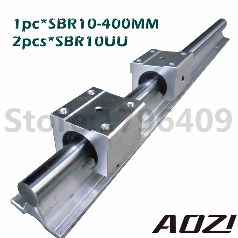 1pc SBR10 400MM Linear Bearing Rails + 2PCS sbr10uu Blocks For CNC For 10MM Linear Shaft Support Rail High Quality<br>