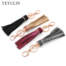 Trendy 12 colors Leather Tassels Gold Color keychain bag Car key ring for women bag jewelry Wholesale(China)
