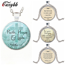 Caxybb Christian Jewelry Bible Pendant Love Hope Faith Quote Jewelry 1 Corinthians 13:13 Verse from the Bible Cross Pendant(China)