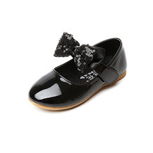 MSMAX Girls Dress Shoes Children Leather Shoes Flat With Hook&Loop Butterfly-knot Girl Party Shoes Black Princess Wedding Shoes