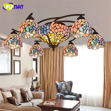 FUMAT European Style Creative Chandelier Ceiling Stained Glass Tiffany Pastoral Flower shade Living Room Bed Room Art Chandelier