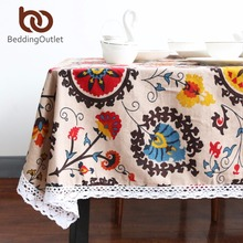 BeddingOutlet Sun Flower Tablecloth Bohemia Boho Floral Table Cloth Lace Edge Linen And Cotton Table Cover 9 Sizes Fashion(China)