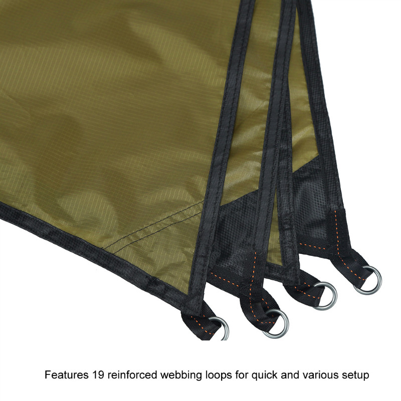 Features 19 reinforced webbing loops for quick and various setup