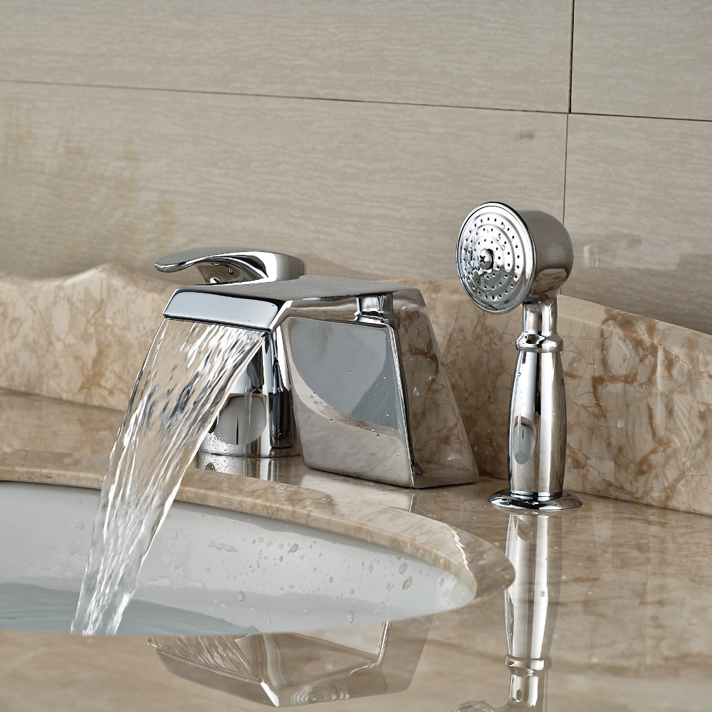 Deck Mount 3PCS Waterfall Bathtub Faucet Deck Mount Single Handle Mixer Water Tap Chrome Finish with Handshower<br><br>Aliexpress