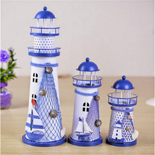 14.5-28.5CM Mediterranean Style Creative Metal Lighthouse Model 1PC Handmade Beacon Nautical Home Decoration Wedding Gift Crafts(China)