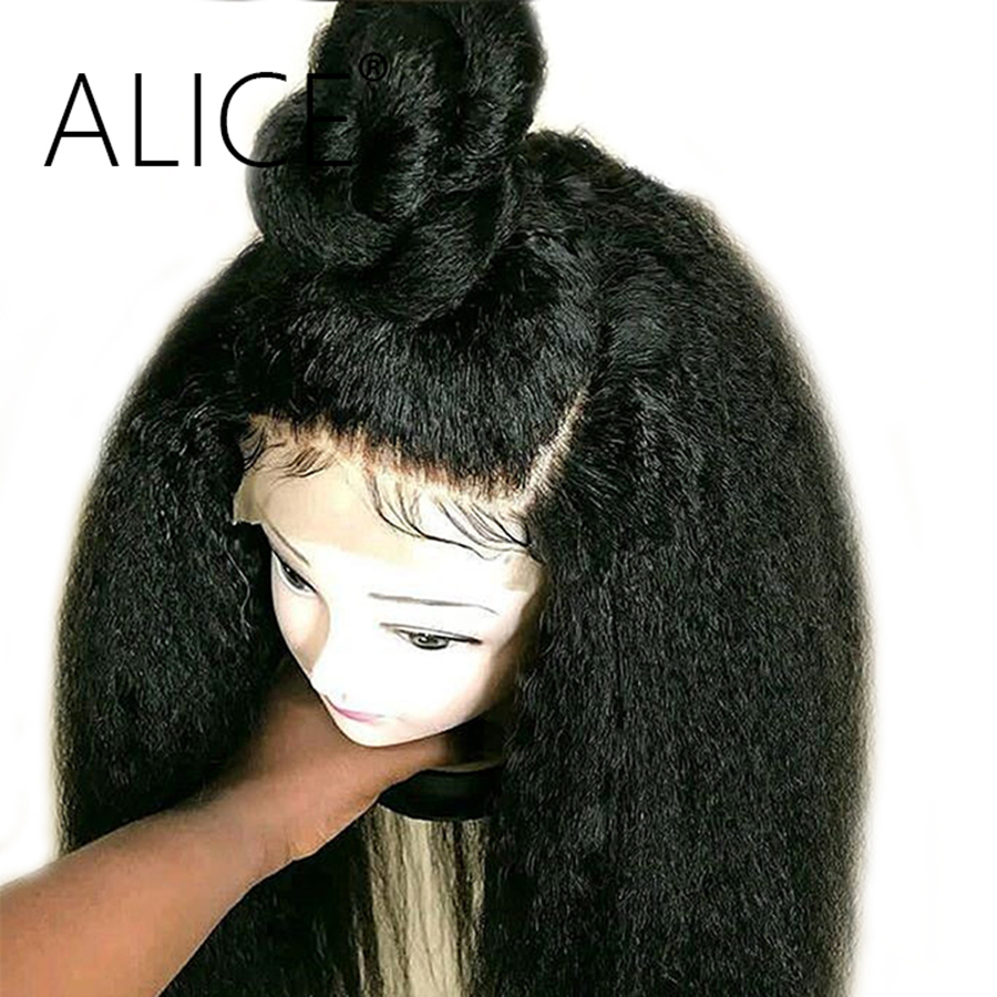 ALICE Kinky Straight Full Lace Human Hair Wigs With Baby Hair Pre Plucked Remy Hair Glueless Human Hair Wig Yaki For Black Woman(China)