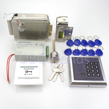 Full 13.56MHz access control system for 500 user MG236B model+power supply+electronic control lock+door exit button+key fobs(China)