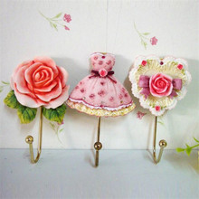 Retro Coat Hooks Home Decorative Flower Garden Roses Love Skirt Hook Drop Shipping
