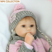 NPK COLLECTION 15 Inch Silicone Reborn Baby Dolls Fake Baby Doll Silicone Toys for Girls Gifts,Real Looking Baby Alive Bonecas