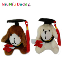 7cm graduation plush Dog keychain with 2 colors Plush toys wholesale 40pcs/lot