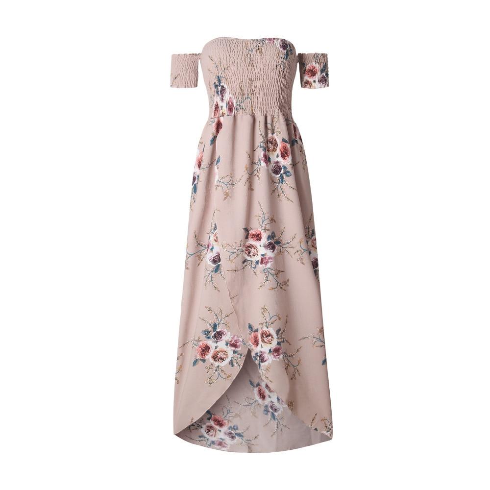 LOSSKY Off Shoulder Vintage Print Maxi Summer Dress 9