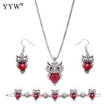 Ethnic Turquoise Jewelry Sets For Women Turquoise Sets Red Stone Owl Shape Necklace Bracelet & Earrings Women's Jewelry Gift