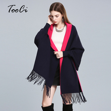 New Arrived Autumn And Winter Women Loose Tassel Knitted Cardigan Poncho Female Wedding Bat Sleeve Shawl Cloak Sweater(China)