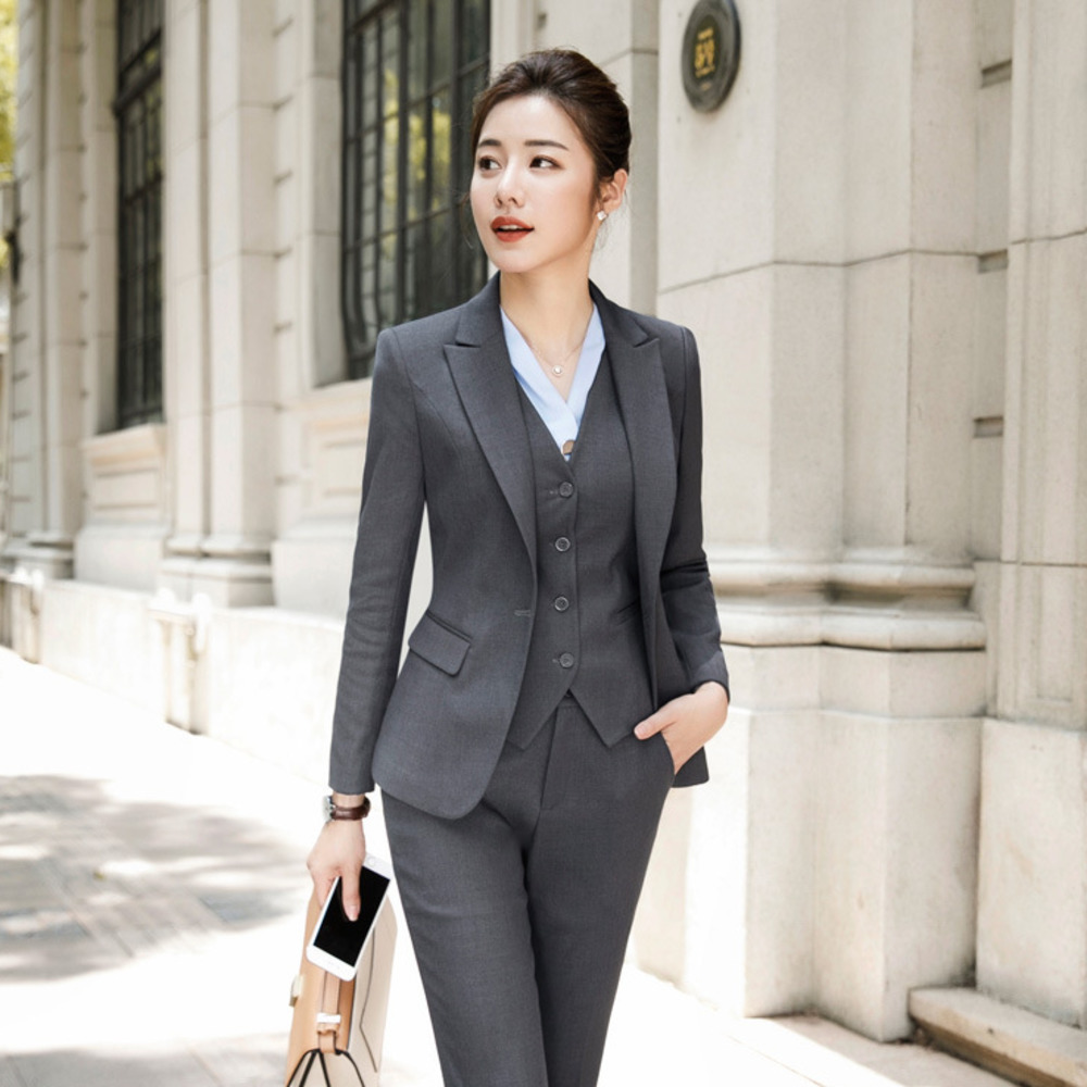 Fashion Women Suit Office Lady Work Uniform Business Formal Pant Suits Black Blazer Pants Set Casual Jacket Trousers Plus Size formal wear