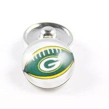 20Pcs/lot 18MM Glass American Football Charms NFL Green Bay Packers Snap Button Jewelry Fit Snaps Bracelets Bangle Necklace