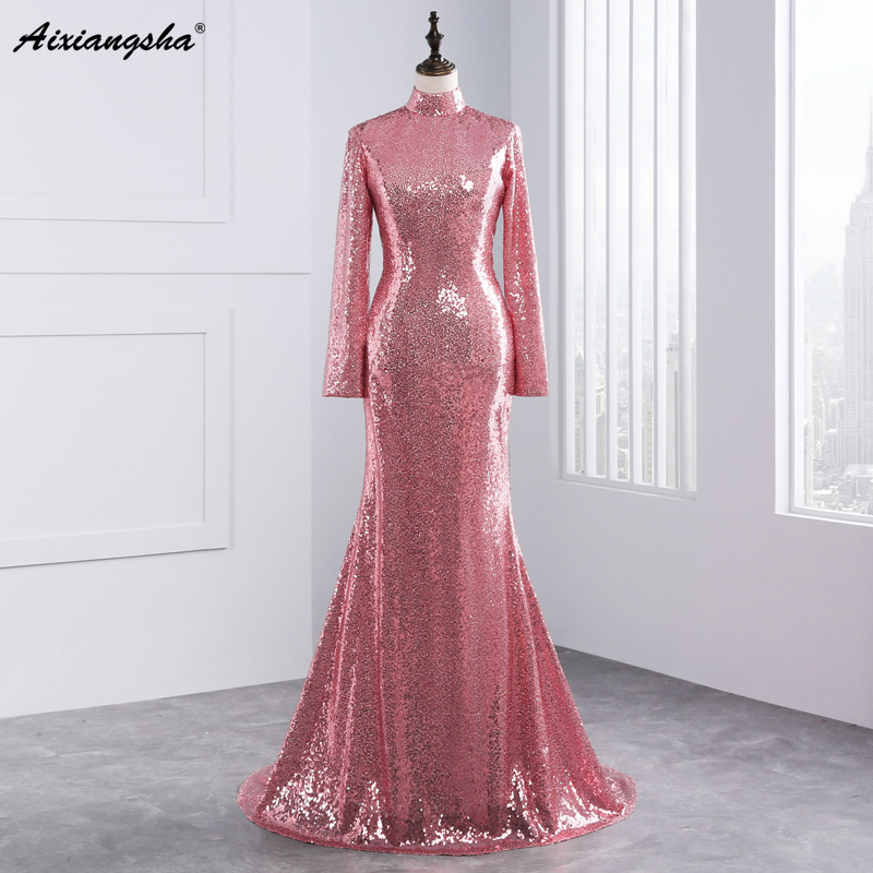 2017 Amazing Top Fashion Mermaid Bridesmaid Dresses Sexy Backless Long Sleeves Rose Gold Sequined High Neck Bridesmaid Gowns(China)
