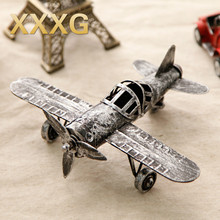 XXXG// model plane retro antique handicraft ornaments iron old American desktop ornaments Home Furnishing creative decorations(China)