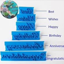 Hot sale 6PCS Letter Cake Mold Decor Fondant Icing Cutter Mould Sugar craft Baking Tools Biscuit