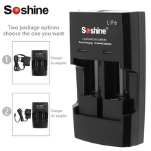 Soshine Smart Intelligent Rapid Battery Charger for LiFePO4 Li-FePO4 RCR123 RCR2 CR2 16340 17335 16340P Quick Battery Charger(China)
