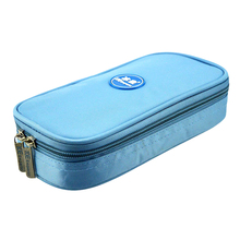 Insulin colder box. Diabetes Travel mini portable insulin cooler storage bag 4pcs refrigerant Temperature displayed(China)