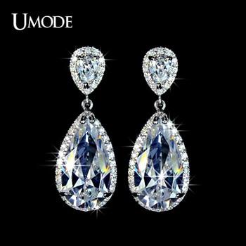 Umode elegante forma de lágrima aaa + cubic zirconia diamante simulado pendientes de novia para las mujeres ue0034