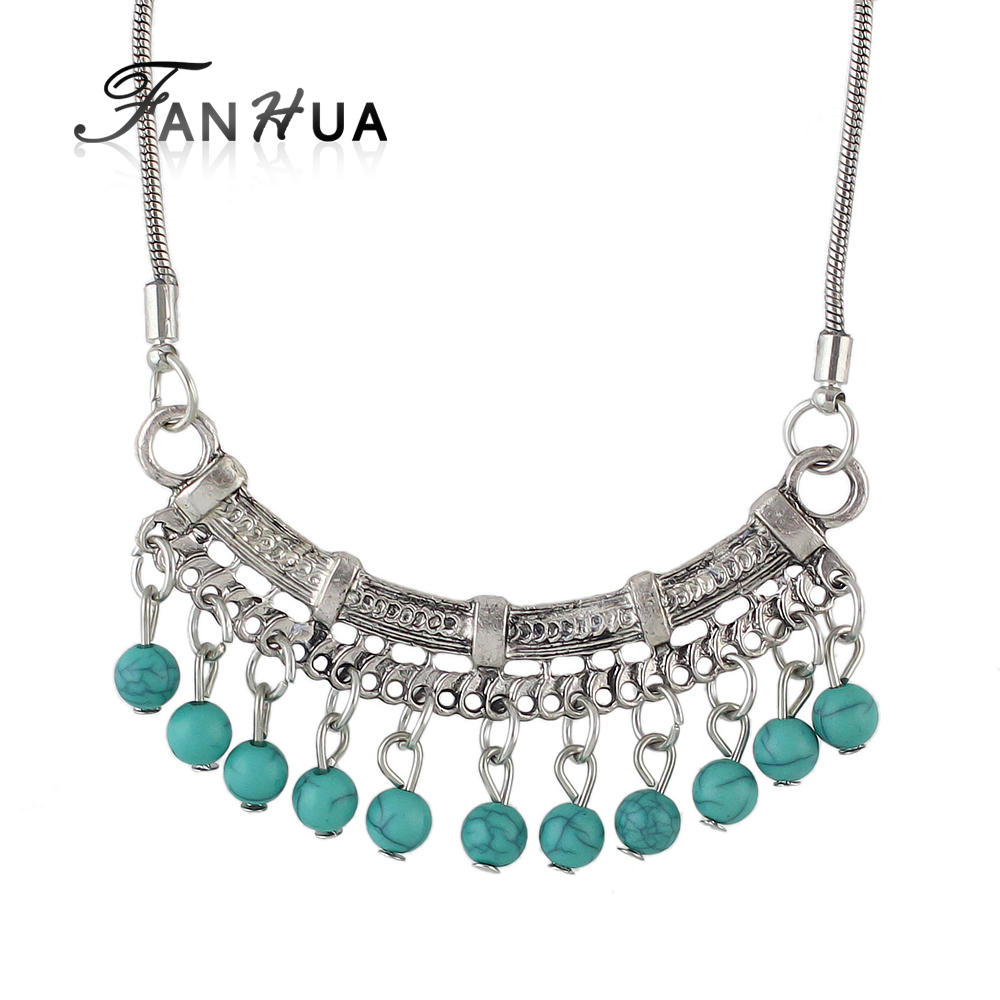 FANHUA Vintage Style Antique Silver Color with Blue Stone Red Beads Geometric Pendant Necklace Statement Necklace(China (Mainland))