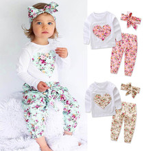 3PCS 4color baby girl clothes Infant Baby Girl Heart Romper Tops+Floral Pants Headband Outfits Set Suit Daily party lowest price