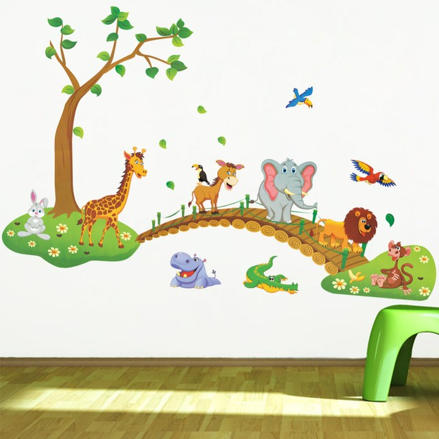 HTB1otpWf8USMeJjy1zkq6yWmpXag - 3D Cartoon Jungle wild animal tree bridge lion Giraffe elephant birds flowers wall stickers for kids room living room home decor