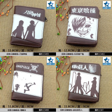 Anime Sword Art Online/Tokyo Ghoul/Black Butler/Attack On Titan/Gintama/Conan Chocolate PU Short Wallet Purse With Zipper