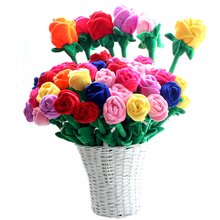 10pcs/lot Plush Rose Flower Bouquet Valentine's Gift Stuffed Toy For Wedding Decoration(China)