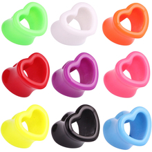Showlove-2Pcs Lovely Heart Shape Ear Flesh Tunnel Hollow Plugs Gauge earrings Expander Stretcher Acrylic Body Jewelry 4mm-25mm