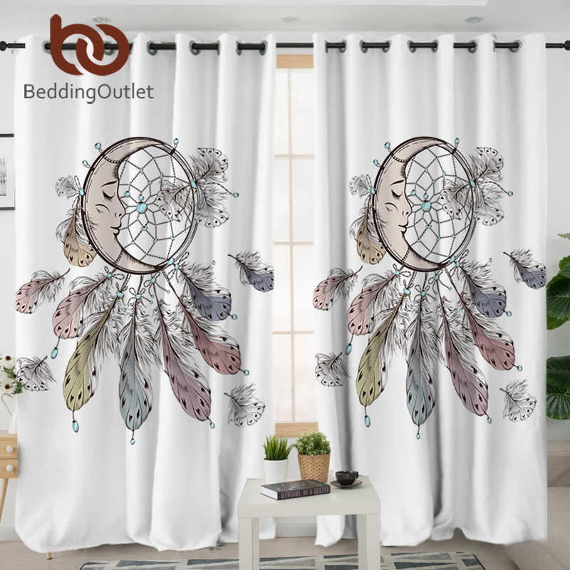 BeddingOutlet Moon Dreamcatcher Living Room Curtains Feathers Blackout Curtain for Bedroom Window Treatment Drapes Home Decor