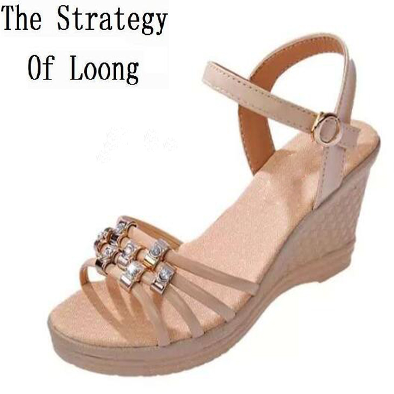 2017 New Arrival Summer Women Wedges  Ankle Wrap Open The Toe Fashion Casual Peep Toe Sandals Shoes Size 35-39 SXQ0625<br>