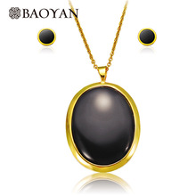 Fashion Big Size Black Onyx Stainless Steel Pendant Necklace with Earring Jewelry Sets for Women N0(China)