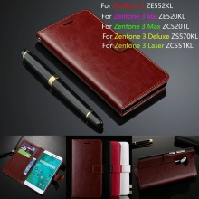 Leather Phone Case For ASUS Zenfone 3 ZE552KL/ Lite ZE520KL/ Max ZC520TL/ Deluxe ZS570KL/ Laser ZC551KL 5.2'' Flip Cover Wallet