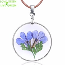 glass pendant dried flower Necklace blue Dry Flower Charms Rope Chain Necklace Fashion Jewelry Gift 3579(China)