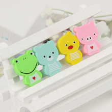 8PCS Kawaii Frog Animals Mini Rubber Eraser Creative Stationery School Supplies Candy Color Gift for Kids
