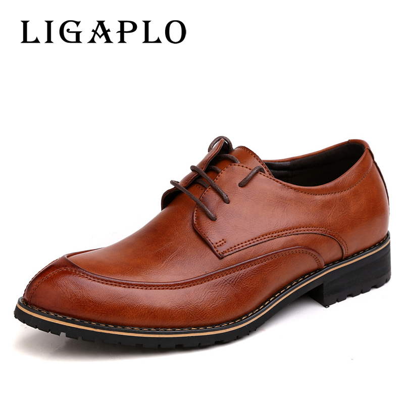 2017 mens leather shoes casual Business shoes Mens Brand Pointed Toe Lace-up shoes man Flats Free Shipping(China (Mainland))